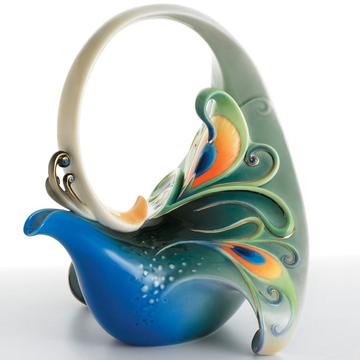 Peacock Teapot | Luminescence Collection | Franz Porcelain