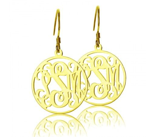 Personalized Hoop Monogram Earrings in Gold Plated