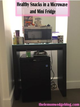 Healthy Snacks In A Microwave And Mini Fridge For College Dorm