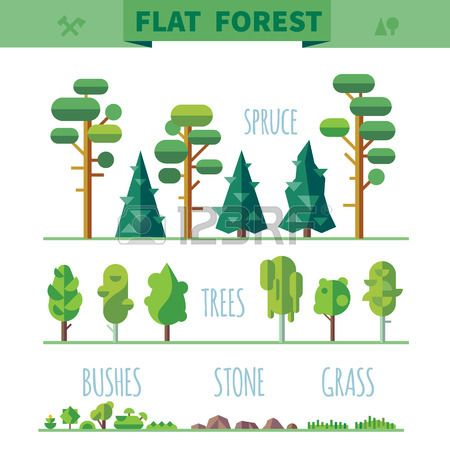 Set of different trees rocks grass Sprites for the game vector flat forests illustrations Stock Vector