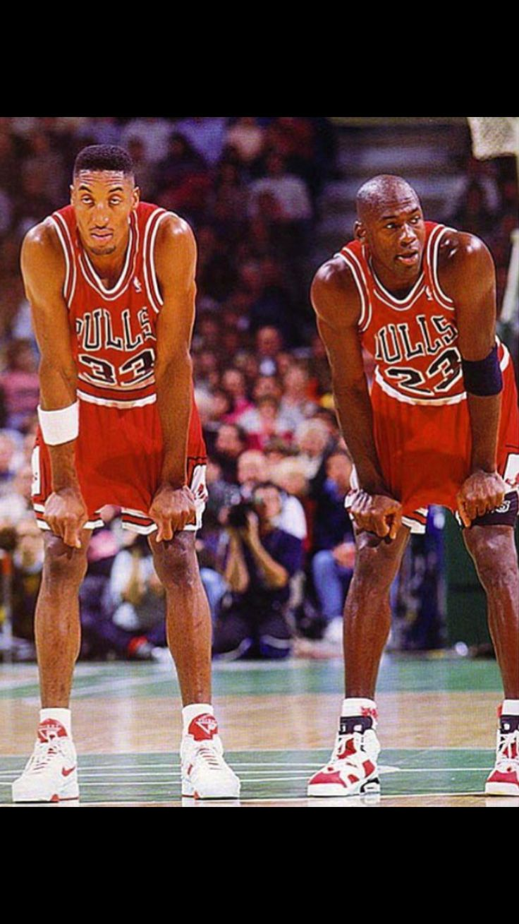 "Scottie Pippen and Michael Jordan 1991. Best hoop duo of all time and executor of the legendary ""Doberman Defense."""