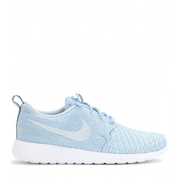 Nike Nike Roshe One Flyknit Sneakers ($155) ❤ liked on Polyvore featuring shoes, sneakers, nike, tenis, обувь, nike trainers, nike sneakers, light blue shoes and nike footwear