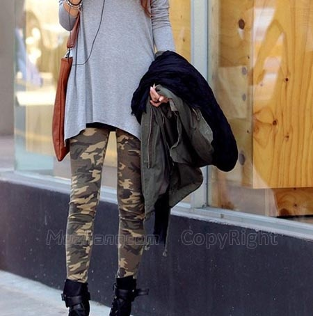 Womens Camo Slim Army Camouflage Tights Pants Leggings Trousers Fashion 2013 | eBay