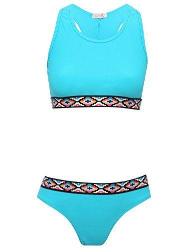 M&Co Teen Girl Blue Aztec Trim Scoop Neck Racer Back Sports Two Piece Bikini Swim Set Turquoise 134/140