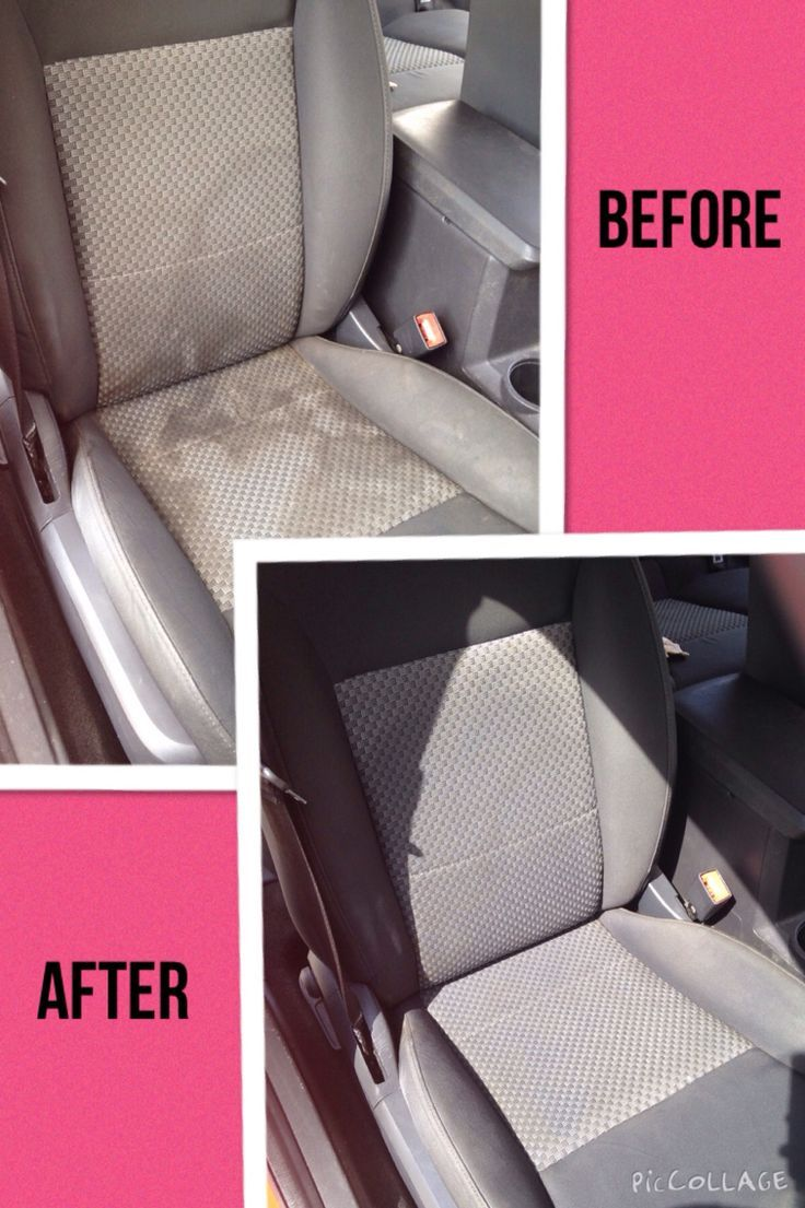 Clean water spots and stains from your cloth car seats! Just add equal parts of club soda, white vinegar, and blue dawn dish soap. Mix into a spray bottle and generously spray on seats. Scrub with a scrub brush and then rub with a clean towel or rag! Simple, easy, and cheap!!!!!!