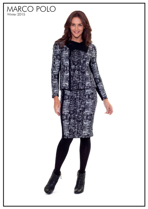 Black and White never go out of style. Our stunning Graphic Ponte Skirt and Jacket has arrived in stores and going to be a winner. Wear with leggings and boots for total weekend comfort. Please call 03 9902 5100 to locate your nearest stockist or shop online today at http://www.marcopolo.net.au/ (Style Numbers: YTMW53064 Graphic Ponte Jacket, YTMW53065 Graphic Ponte Skirt)