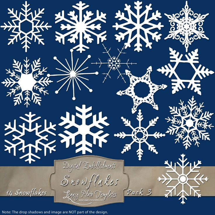 14 Frosty Snowflake Overlays - Pack 3 $4.75 #snowflakes, #white, #winter, #embellishment, #scrapbooking