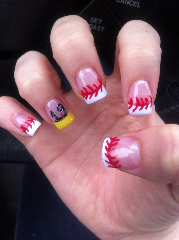 Baseball nails with his number! Sports nail design - Best 25+ Sport Nails Ideas On Pinterest Sports Nail Art