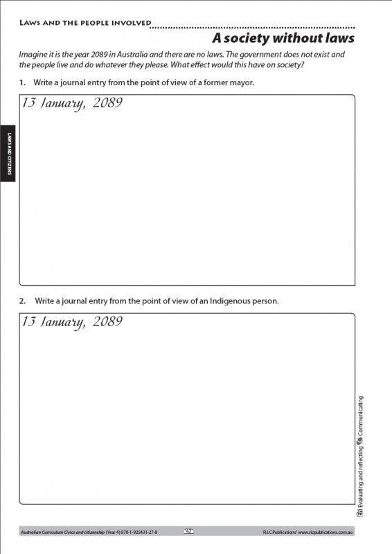 Australian Curriculum HASS. Civics and citizenship Year 4 freebie