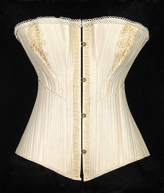Corset Date: ca. 1880 Culture: American Medium: Cotton, metal, bone