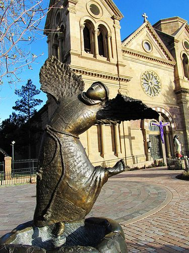 Statue of Saint Francis at the the Cathedral Basilica of Saint Francis of Assisi in Santa Fe, New Mexico