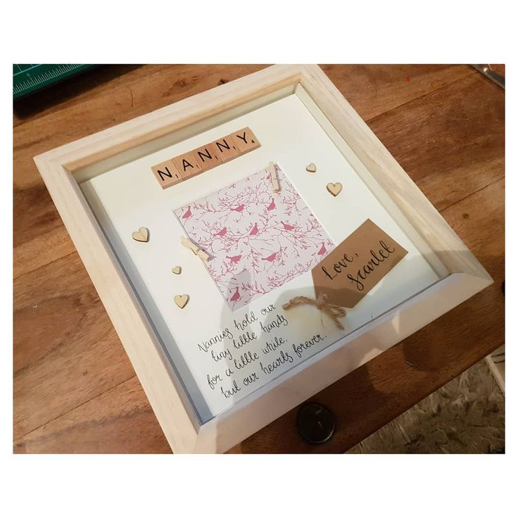 'Nanny' Frame. Perfect for a birthday present from your little ones and space to peg a small photo or 2 too.  These are all custom handmade by me and can be personalised to say whatever you like   Available in black white or pine   DM me to order or follow my link in bio  . . #crafts #artaddict #craftaholic #artsandcrafts #frame #decorations #decor #homeware #crafter #royston #cambridge #stevenage #hertfordshire #bedfordshire #cambridgeshire #homedecor #calligraphy #lettering #custommade…