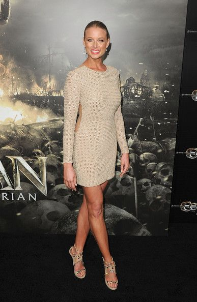 Rachel Nichols Lookbook: Rachel Nichols wearing Beaded Dress (15 of 33). Rachel Nichols looked glam in an ivory and gold backless dress for the 'Conan the Barbarian' premiere.