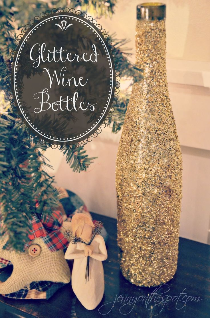10 images about wine bottle decorations on pinterest for How to decorate a bottle with glitter
