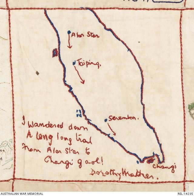 Embroidered Australian Changi quilt (detail): Female internees, Changi Prison. 1942 (Royal blue and red stem-stitch map of the Malay Peninsula and Singapore, with arrows linking the towns of Alar Star, Taiping, Sarambon and Changi. Verse and signature in red 'I wandered down a long long trail from Alar Star to Changi gaol. Dorothy Mather').