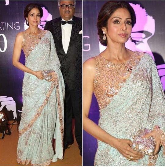 Sridevi looking glam in Manish Malhotra's evening wear collection! #Saree #Diva #IndianCinema #Designer