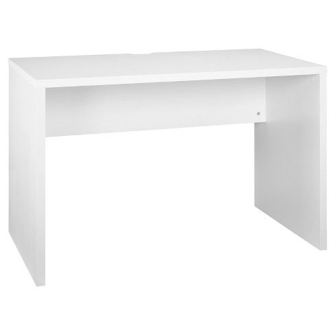 ClosetMaid's White Desk is a sturdy desk that is comfortable for anyone to sit at and get work done. Whether you are writing a paper or paying bills online, this honeycomb desk is the perfect mixture of style and function. There is a cable grommet for cords, a cable management storage ledge, and is finished on the front and back. ClosetMaid's White Desk is part of their Storage Furniture Collection, so be sure to check out what other items could compliment this piece in your home!<...