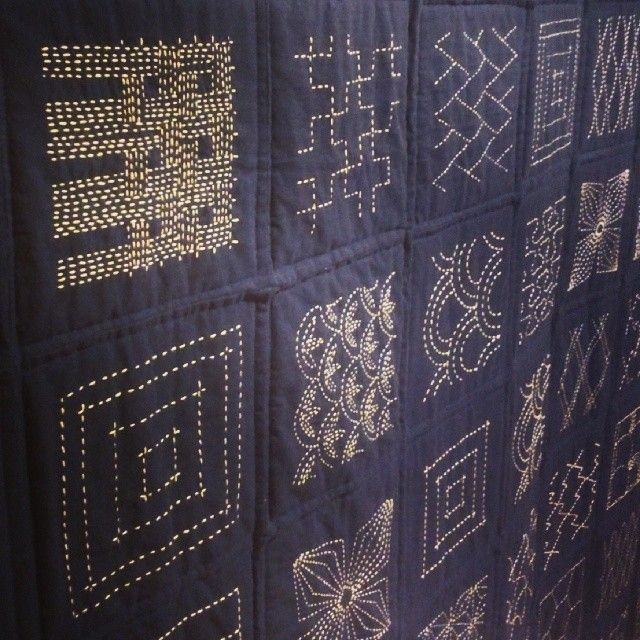 """Japanese Sashiko embroidery @TMCtoronto #textiles #embroidery #Japanese #geometric #pattern #quilt #indigo #Canada #Toronto #museum"""
