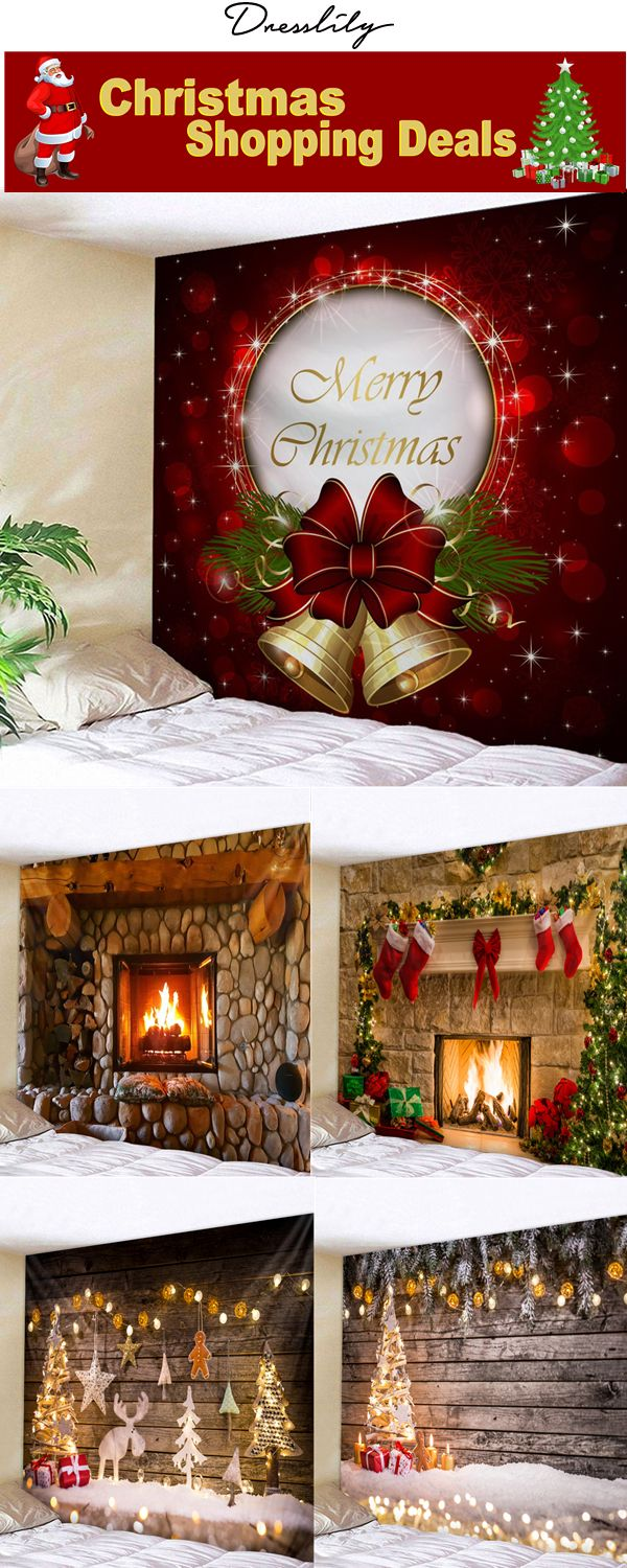 73cfc988af2 Christmas Home Decor.Christmas Bells Print Tapestry Wall Hanging Art.   christmas  dresslily