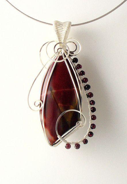Mookaite and Garnet pendant