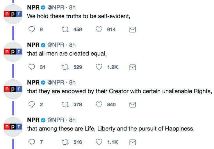 NPRは29年にわたって、独立記念日の7月4日に独立宣言文を番組で読み上げている。