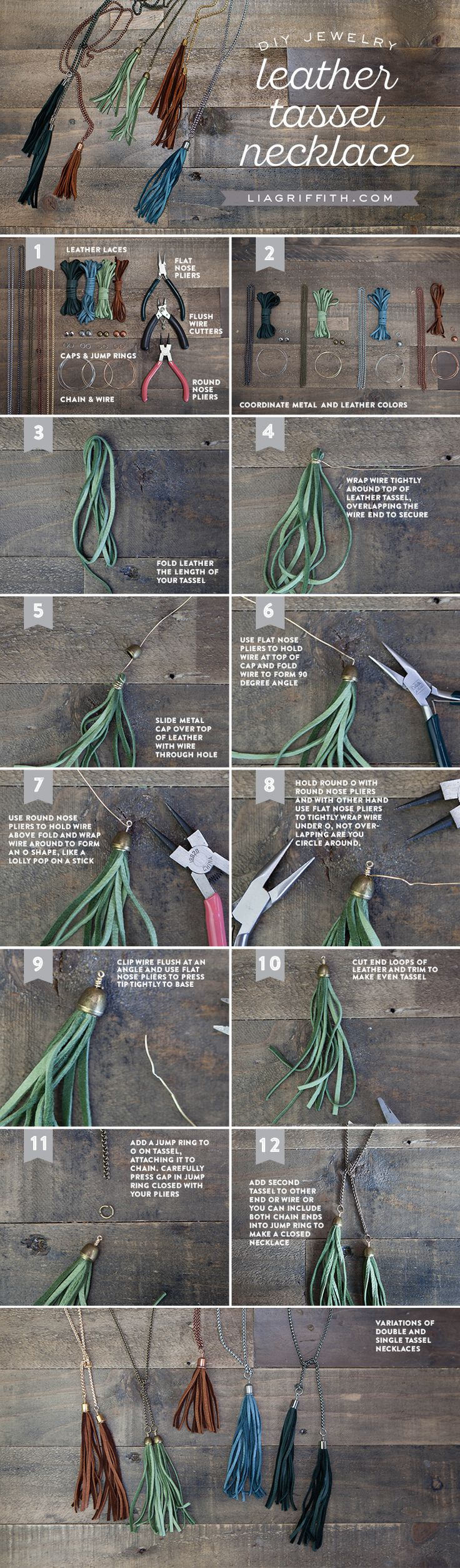 Make your own cute leather DIY tassel necklaces with this jewelry tutorial from handcrafted lifestyle expert Lia Griffith.