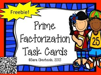 Included in this free download, are 16 task cards to help your students practice prime factorization. I know that my students always need extra practice with this skill. 16 task cardsDirectionsStudent Recording SheetAnswer Key You can use these task cards in so many ways in your classroom; scoot, extension, extra practice, for centers or whole group.