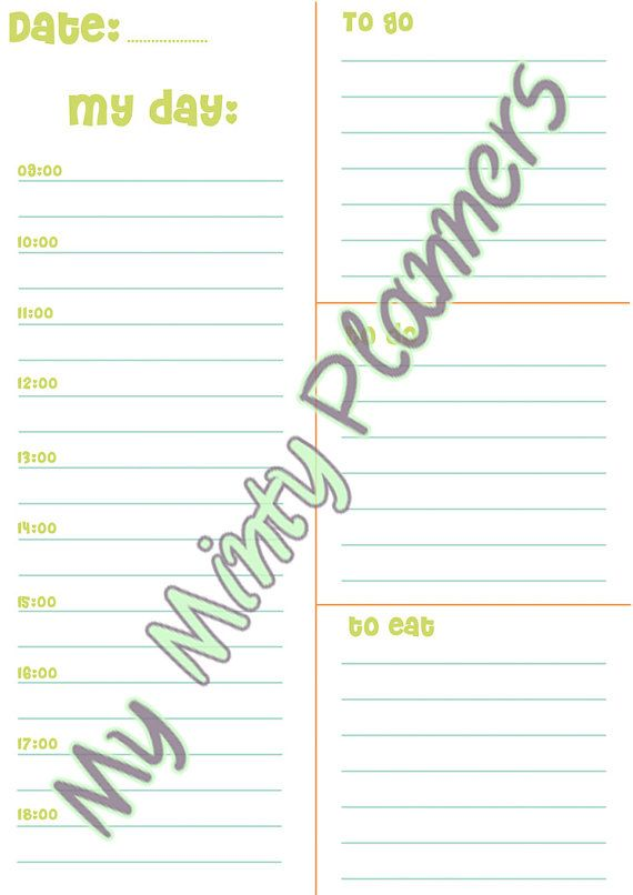 DAILY PLANNER A4  Simple One Page Planner in by MyMintyPlanners