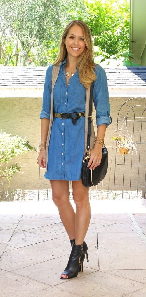 Inspiration: TJ Maxx      Chambrayis the ultimate blank slate. It can be preppy, or you can toughen  it up a bit. Like my inspiration photo, for example. They made a chambray  dress feel part boho and part rocker withthe addition of along vest,  leather belt, peep toe booties and a fringe purse.It gave me an idea for  newway to wear my chambray dress from last year.My version came out  pretty similar, minus the fringe on the purse.I love having a new way to  wear this dress!  ...