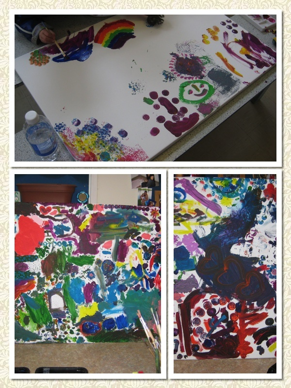 class project every year: parents and children in each class come together to make a painting