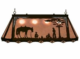 "46"" Cowboys Camping Scenic Hanging Oval Metal Pool Table Galley Light"
