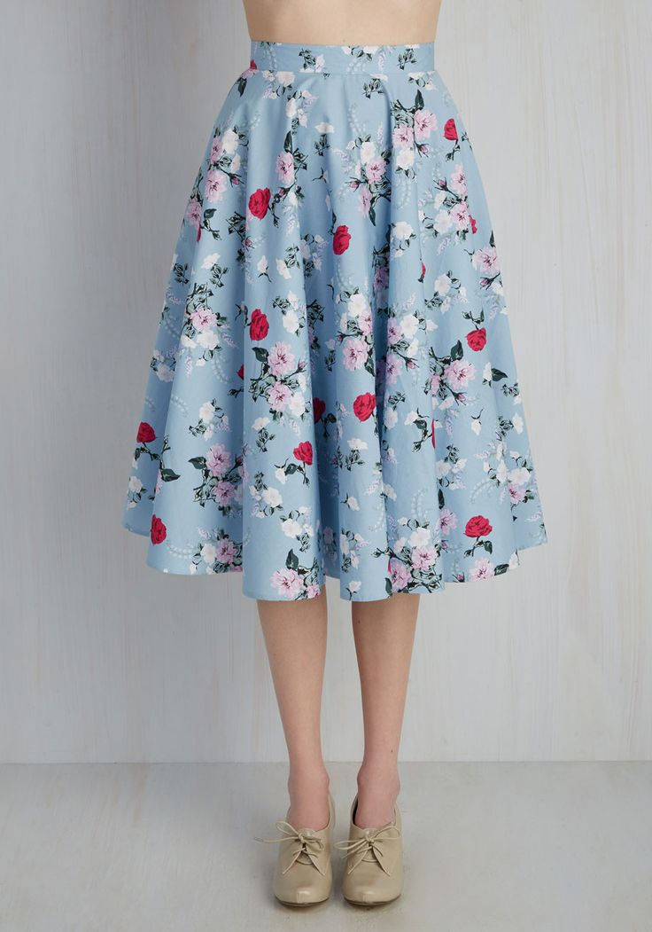Sculpture Garden Gala Skirt. All eyes are on you as you stroll through the outdoor gallery bedecked in this powder blue midi. #blue #modcloth