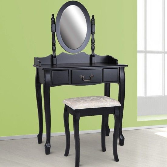 Small Dressing Table with Stool - Black -