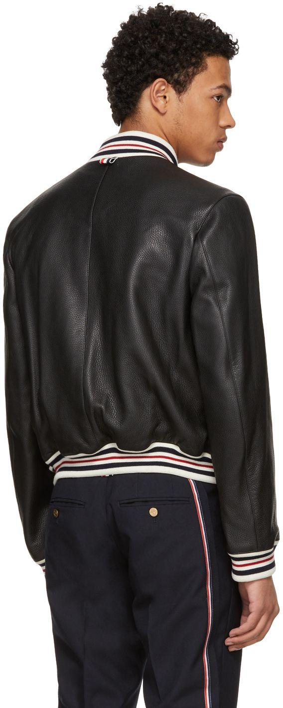 Thom Browne - Black Leather Varsity Jacket