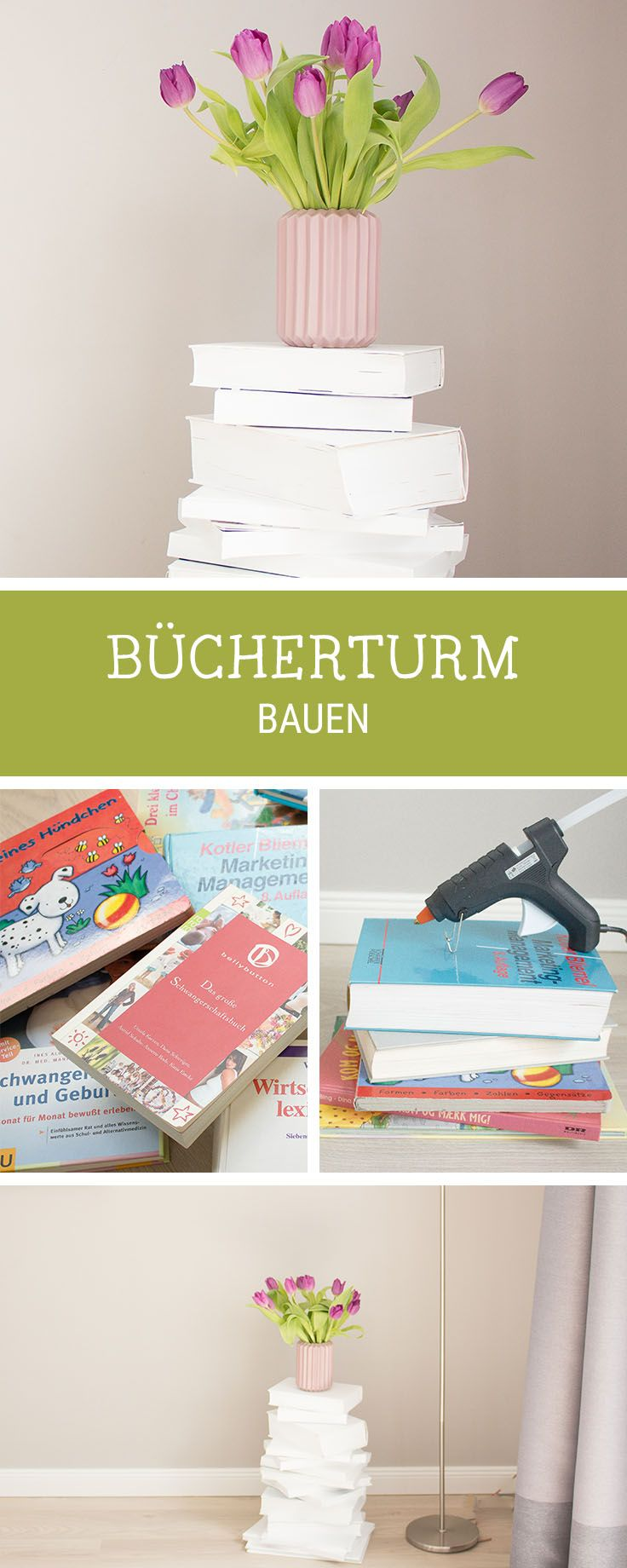 DIY-Anleitung für einen Tisch aus alten Büchern, Upcycling-Idee / upcycling idea for a side table made of old books via DaWanda.com