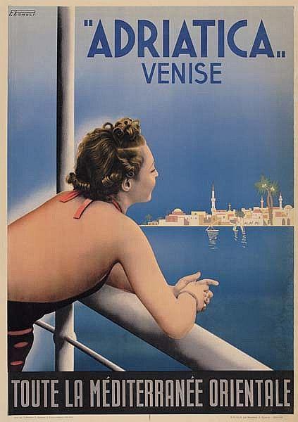FILIPPO ROMOLI (1901-1969) ADRIATICA Venise (Venezia) Vintage travel poster 1938.  Barabino & Graeve, Genoa. www.varaldocosmetica.it/en