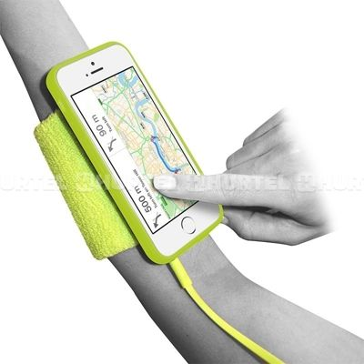 PURO Running Band - Frotka do biegania z etui iPhone SE / iPhone 5s / iPhone 5 + key pocket (limonkowy)