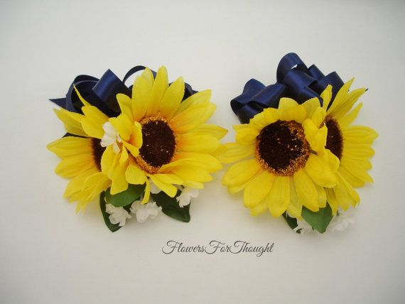 2 Double Sunflower Corsages with Navy Ribbon by FlowersForThought