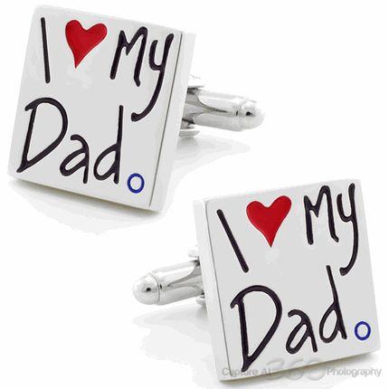 I Love My Dad Present Cufflinks, Black Friday Sale by Cufflinksman