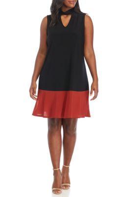 Tiana B Women's Plus Size Color Block Dress - Black/Rust - 24W