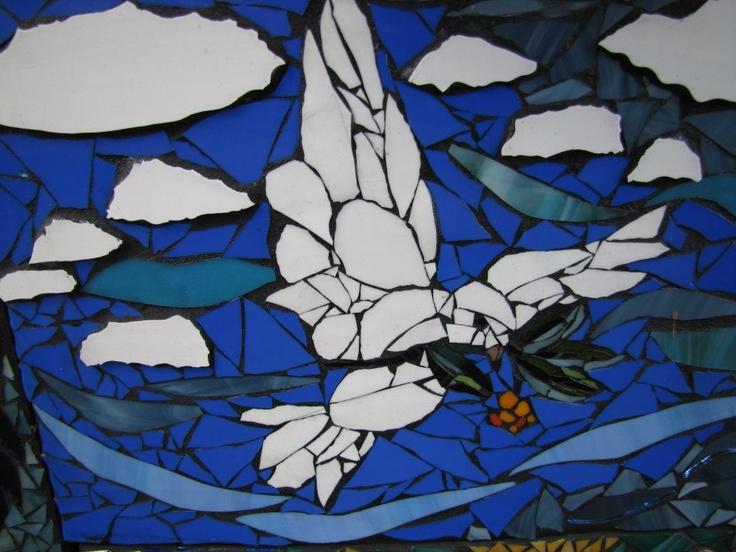 dove of peace by kat gottke mosaik glaskunstfarbiges glasfantastische - Fantastisch Mosaik Flie