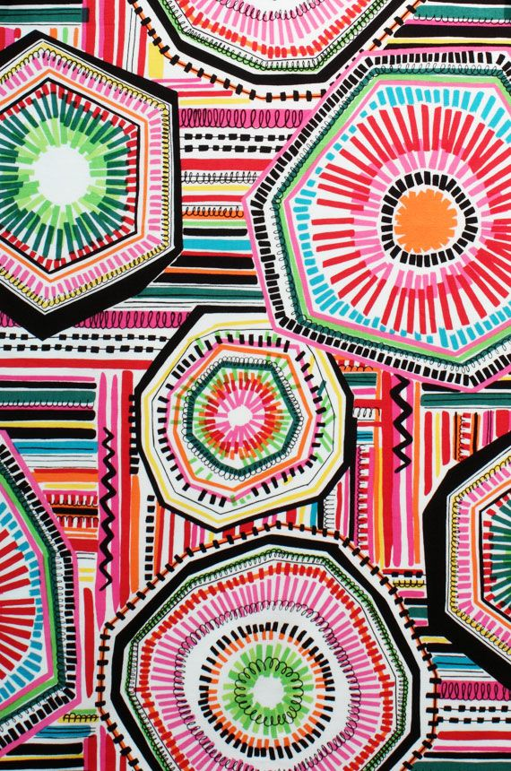 """Alexander Henry brand fabric. This could work for a sub plan- draw shapes and """"echo"""", fill in negative space with lines, colors, and patterns."""