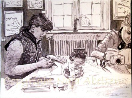3 Hours at a painters meeting. Study by Naja Abelsen. STUDIES OF REALITY - www.123hjemmeside.dk/NajaAbelsen