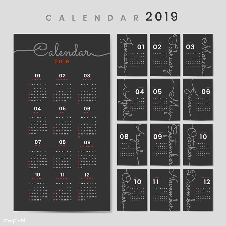 Black calendar 2019 poster vector free image by rawpixel