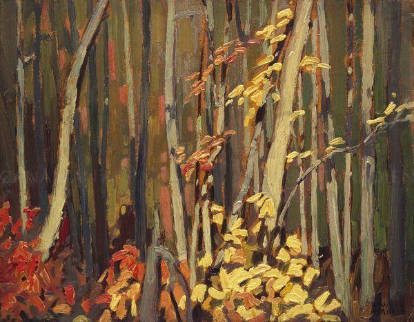 """Wood Interior, Algoma,"" Lawren S. Harris, ca. 1919, oil on board, 10.6 x 13.75"", McMichael Canadian Art Collection."