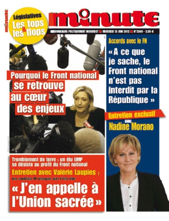 """L'ineffable @nadine__morano en couverture de """"Minute"""" du 13 juin 2012 via LeMonde.fr #UMPFN"""
