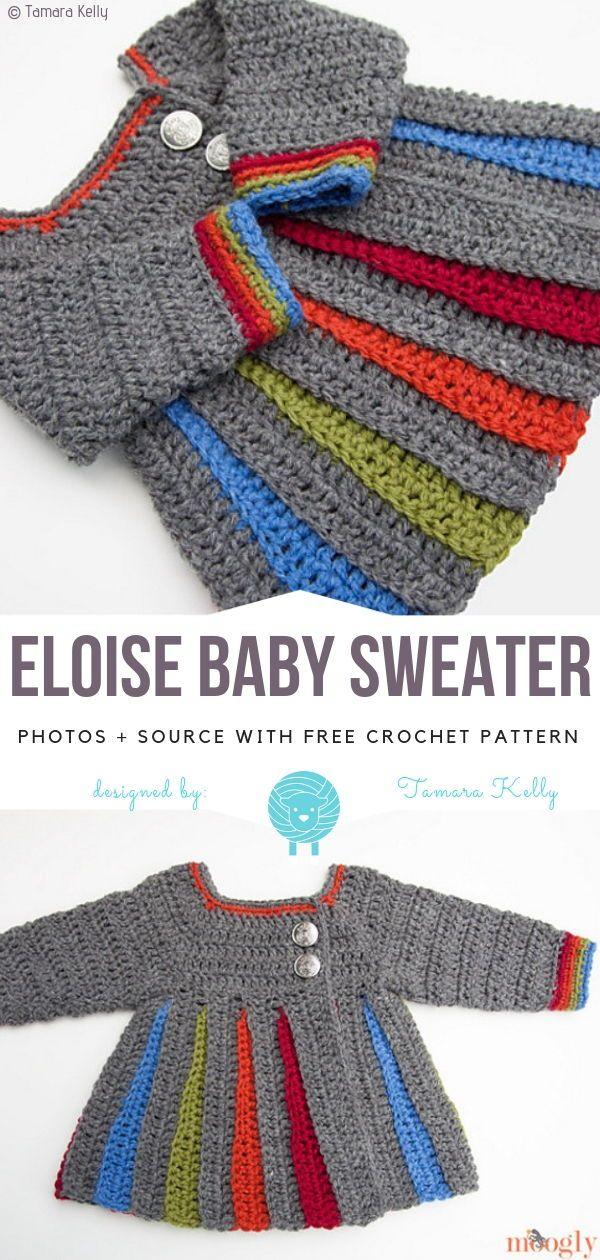 a6d301fd3609 Eloise Baby Sweater Free Crochet Pattern  crochet  crocheting   crochetpattern  crochetpatterns  freecrochetpattern