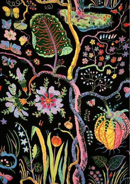Beautiful floral wallpaper with black background and variety of colorful flowers!!  Josef Frank
