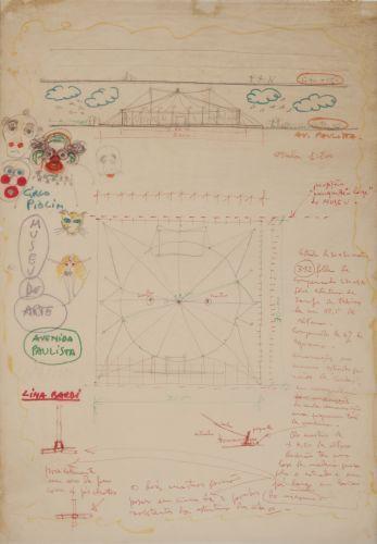 Instituto Lina Bo e P. M. Bardi   Elevação tenda do circo indicando instalação do belvedere so museu / Planta da tenda do circo / Anotações