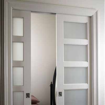 Etched glass pocket door for bathroom to allow light to for Master bathroom pocket door